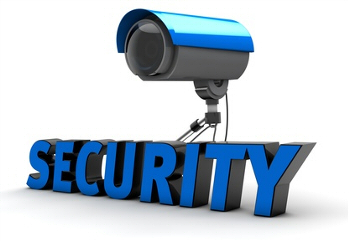 picture of security sign and camera